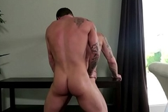 Doggystyled stud pleasured by amateur muscle