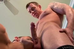 Cut musician deep-throats doctors cock and gets team-fucked