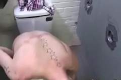 Elated white youngster suck dusky cock at gloryhole