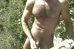 Hot big dick happy-go-lucky dudes from Hungary cherish to stroke their fat rods outdoors