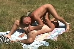 Hardcore gay action with two guys sucking plus fucking in an obstacle finished with a field