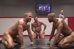 Muscular jocks wrestling with an increment of fingering asses