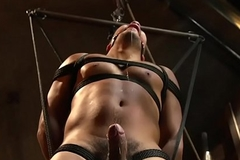 Bound bdsm sub roughly whipped by slavemaster