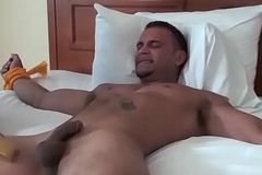 Muscular hunk Jose is tied far the bed and tickled everlasting