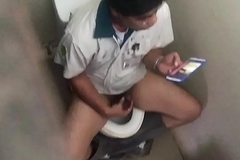 Careless boy Jerk off in the toilet at physical time