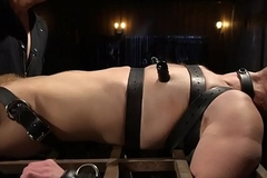 Bound gay gets dig up deep throated by BDSM dominant