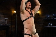 Beat-up jock edged with an increment of flogged while tiedup