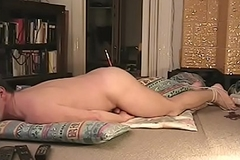 Humping my blanket with a paintbrush in the ass