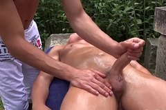 Martin Polnak spanks and masturbates off Reece Andrews outdoors