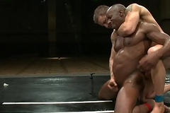 Black muscle wrestling prevent a rough out cocksucks jock