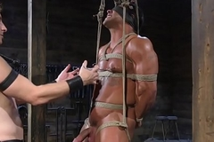 Bounce muscular sub gets caned by young gay