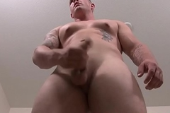 Military hunk wanking and wanking his dick