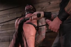Tattooed BDSM outwait flogged by inside gay