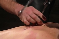 Bound sub flogged and spanked while sucking