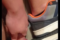 Chubby boy cum on sneakers