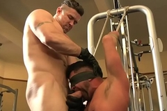 Blindfolded BDSM sub gets mouthfucked deeply